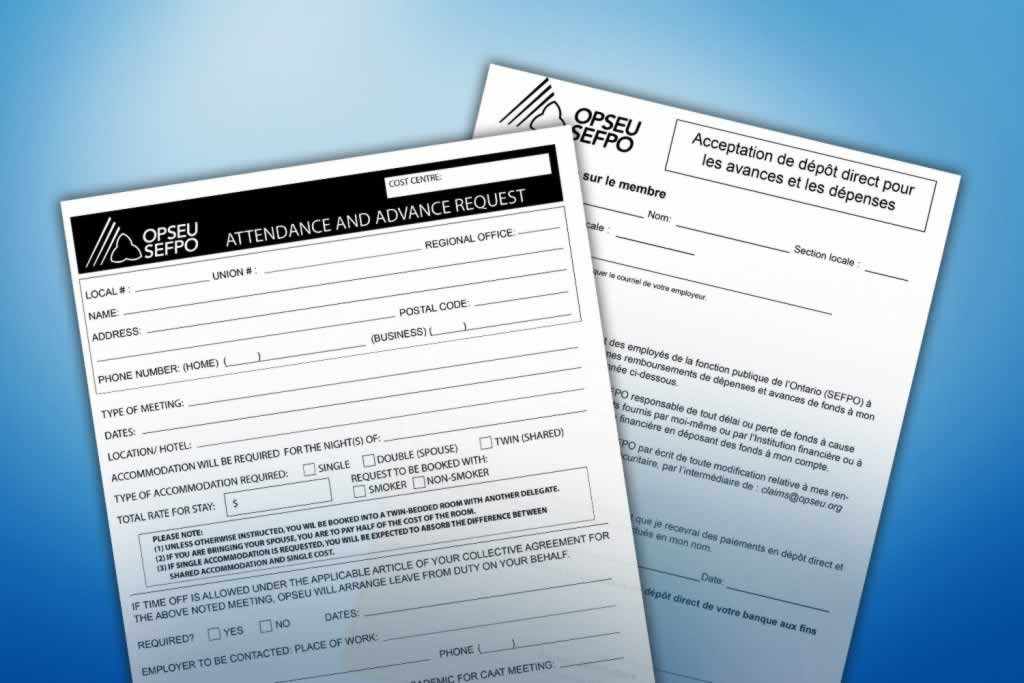 OPSEU Attendance and Advance Request forms