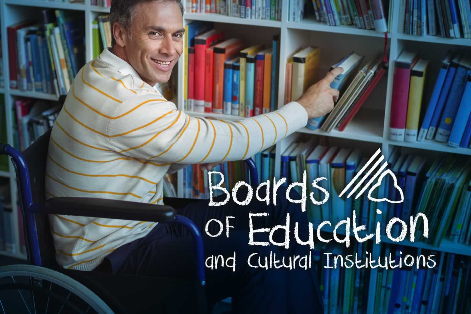 Boards of Education and Cultural Institutions. Man putting books away in library
