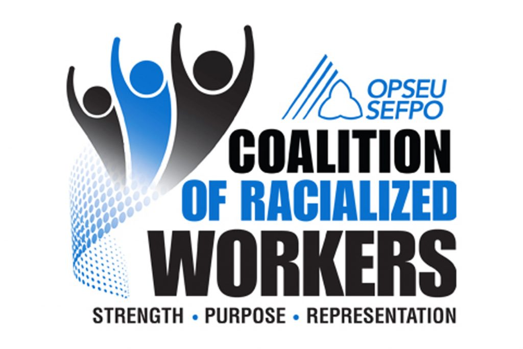 Coalition of Racialized Workers logo: strength, purpose, representation