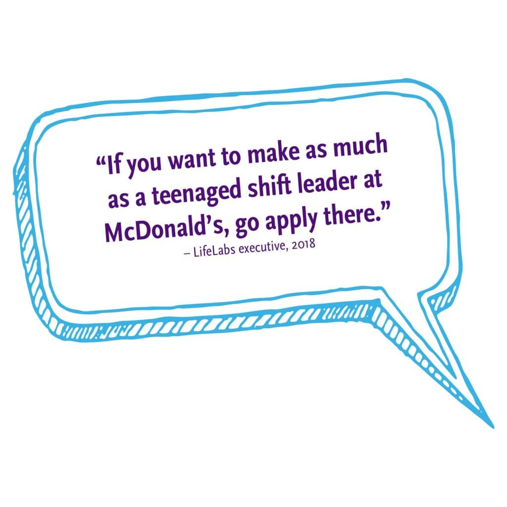 Lifelabs executive: If you want to make as much as a teenaged shift leader at McDonalds, go apply there