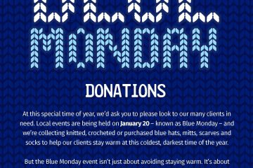Blue Monday Donations: Local events being held on January 20, we're collecting blue hats, mitts, scarves & socks