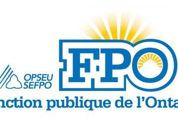 FPO, l'acronyme de la Fonction publique de l'Ontario, en lettres bleues devant un coucher de soleil.