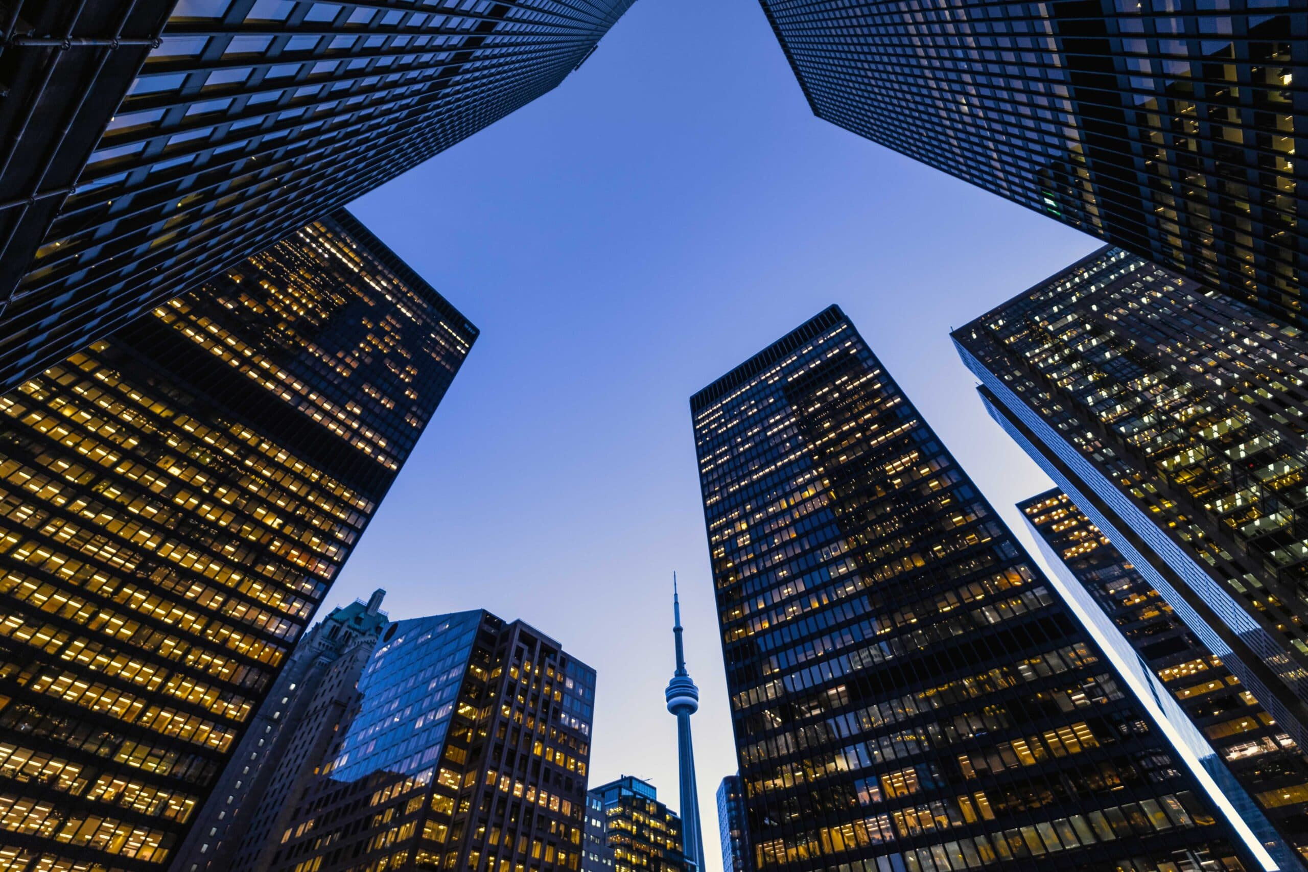 Business district architecture at night in downtown Toronto.