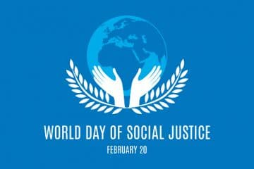 Silhouette of a hand with a laurel. Day of Social Justice Poster, February 20. Important day