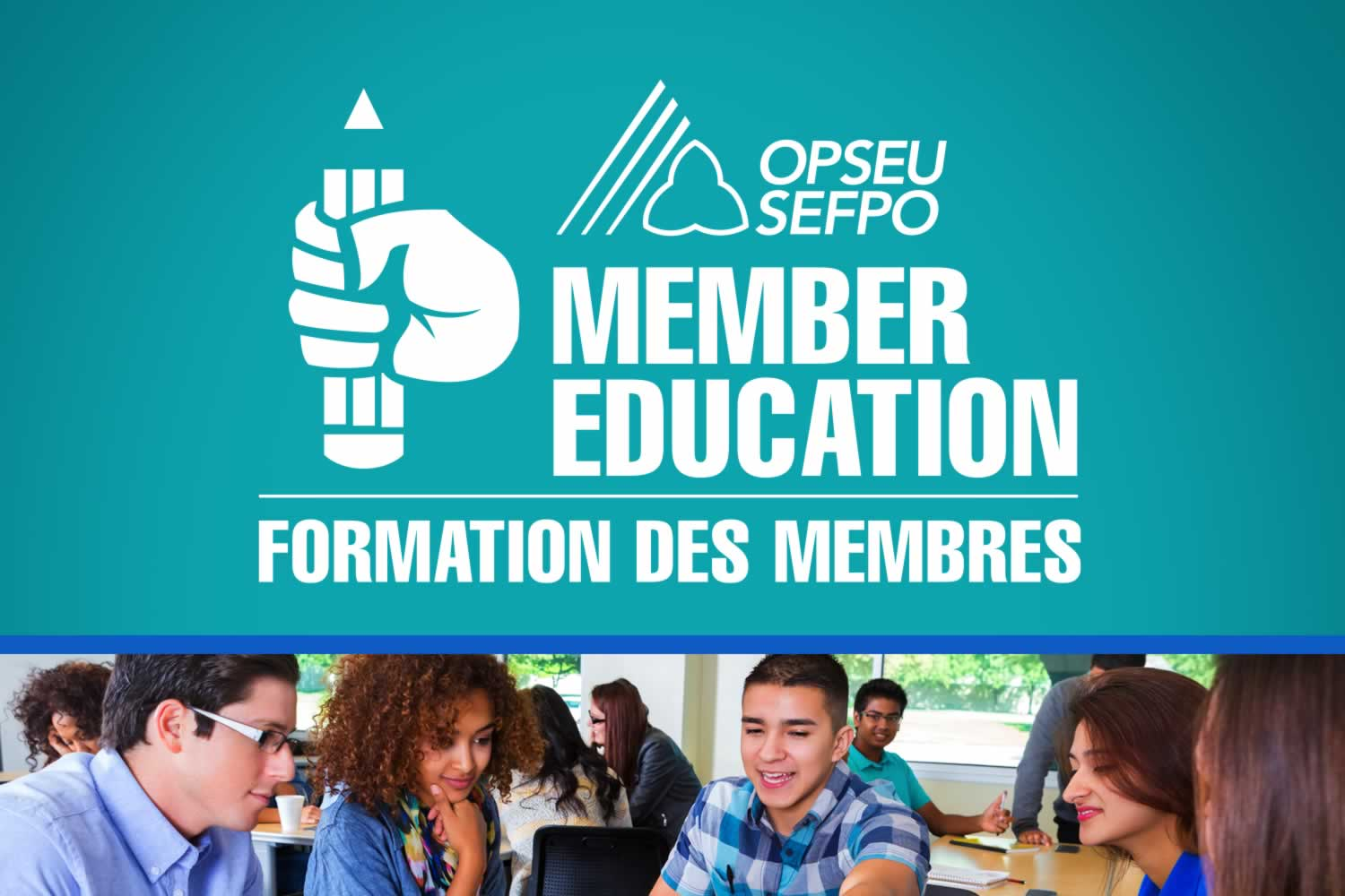 People takin a class and the Education/Formation des Membres logo