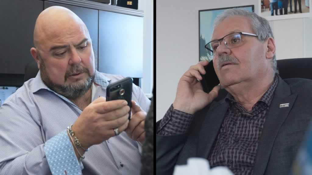 Two photos: one of Warren (Smokey) Thomas, one of Eddy Almeida, both on the phone