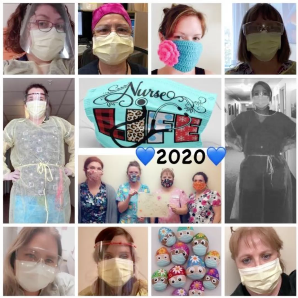 Various photos of workers wearing PPE