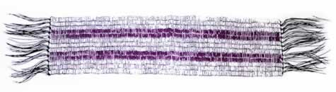 Three rows of white beads symbolizing peace, friendship, and respect separate the two purple rows. The two purple rows symbolize two paths or two vessels travelling down the same river. One row symbolizes the Haudenosaunee people with their law and customs, while the other row symbolizes European laws and customs.
