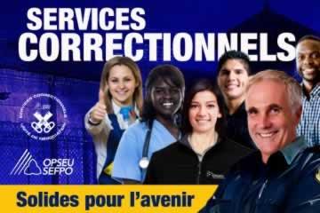 Un groupe de travailleuses et travailleurs des Services correctionnels