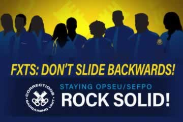 FXTS: Don't Slide Backwards. Staying OPSEU, Rock Solid. Corrections Bargaining Unit Logo