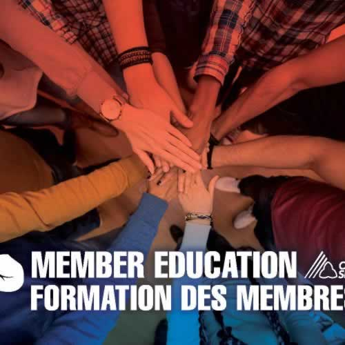 Member Education/ Formation des membres. Hands in a circle