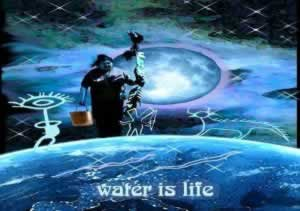 A blue decorative image with the text Water is Life