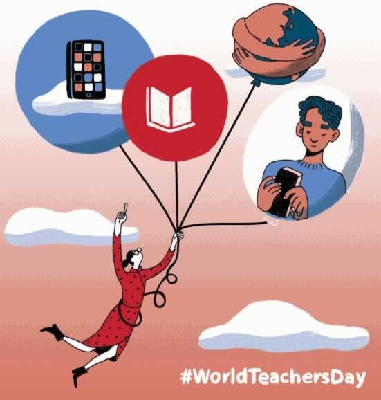 World Teachers' Day. Illustration of teacher holding balloons
