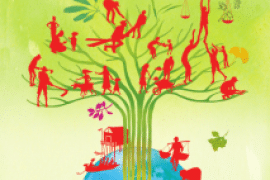 Image of tree, with outlines of people standing & working