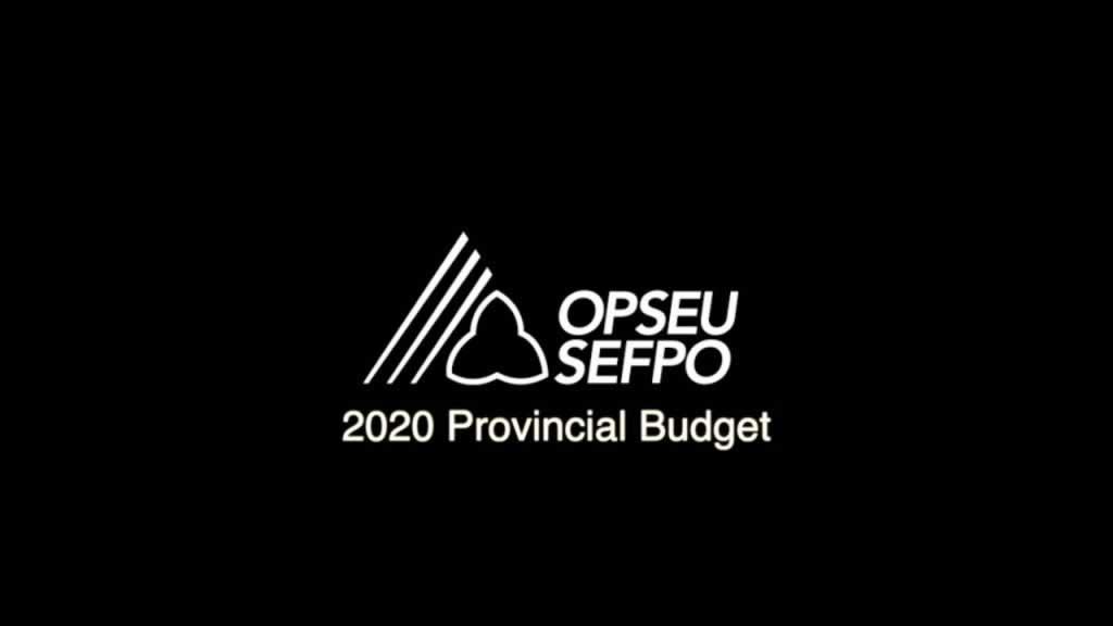 OPSEU SEFPO 2020 Provincial Budget