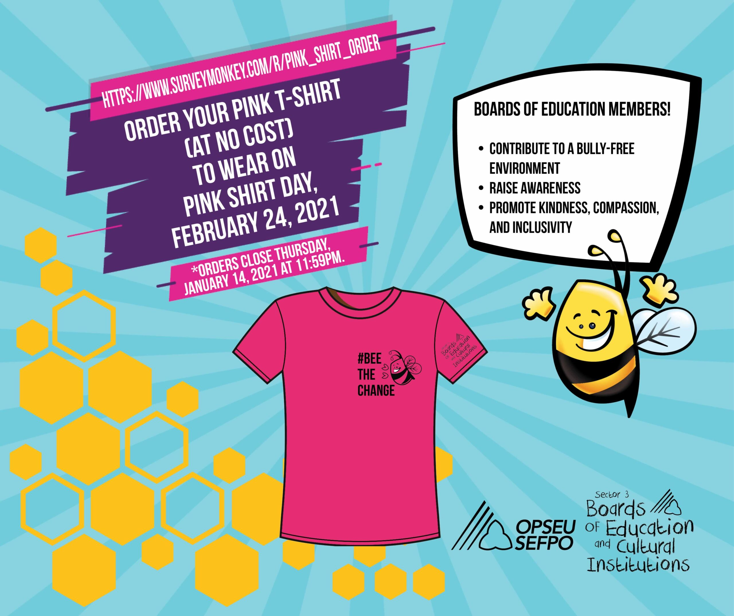 Infographic for Pink Shirt day: Order your pink shirt