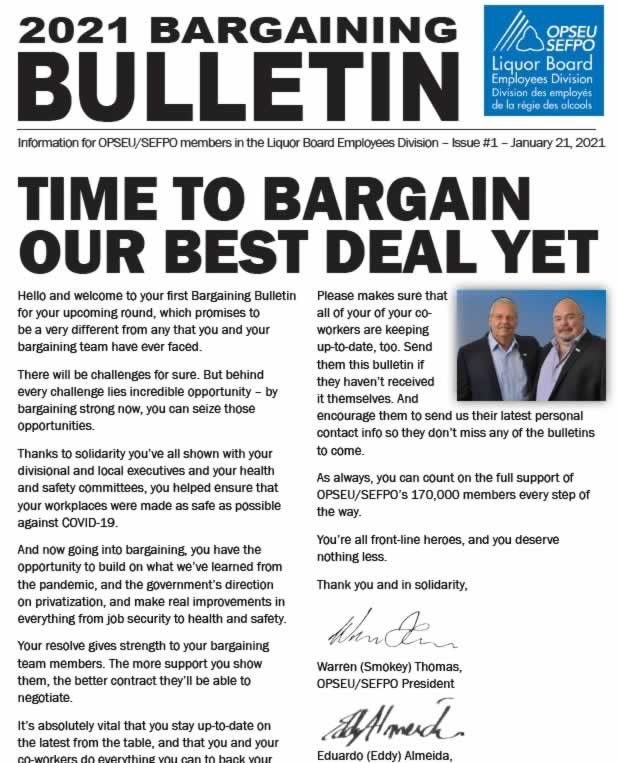 Time to bargain our best deal yet - 2021 LBED Bargaining Bulletin. Jan 2021