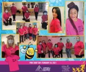 Collage of people wearing pink tshirts with Bees and text saying Bee the Change. Text saying Pink Shirt Day 2021 at the bottom of the collage.