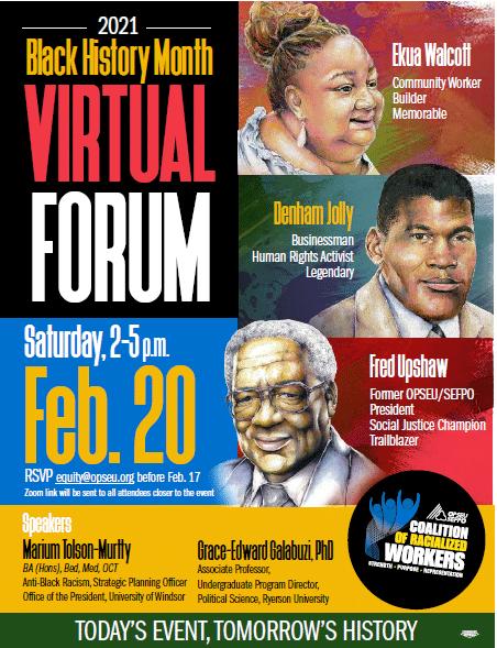 Black History Month Virtual Forum. February 20, 2021, 2PM-5PM.