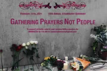 Poster for the 16th Annual Strawberry Ceremony, Gathering Prayers, Not People. February 14, 2021