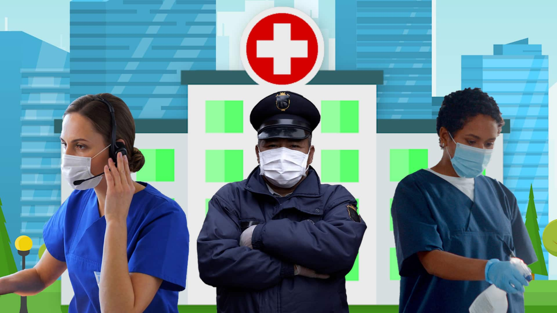 Three health care support workers wearing masks