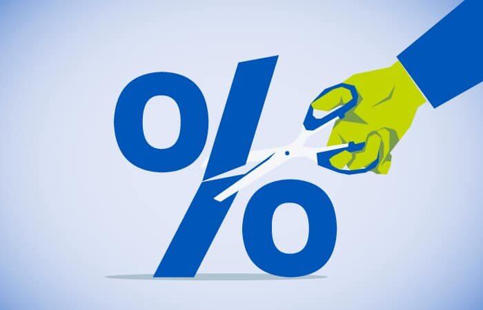 Scissors cutting percentage sign